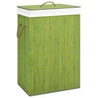 vidaXL Skalbinių krepšys, žalios spalvos, bambukas, 72l