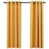 vidaXL Naktinės užuolaidos su kilputėmis, 2vnt., geltonos, 140x175cm