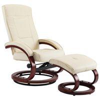 vidaXL Atlošiamas krėslas su pakoja, kreminės spalvos, dirbtinė oda