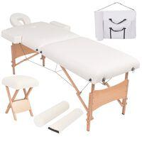 vidaXL Sulanks. masaž. stalo ir kėdės komp., 2 zonų, 10cm stor., balt.