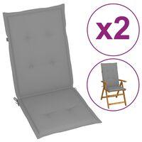 vidaXL Sodo kėdės pagalvėlės, 2vnt., pilkos, 120x50x4 cm