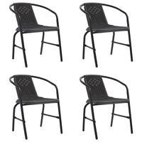 vidaXL Sodo kėdės, 4vnt., plastikinis ratanas ir plienas, 110kg