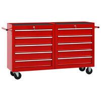 vidaXL Įrankių vežimėlis su 10 stalčių, raudonos spalvos, plienas