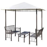 vidaXL Sodo paviljonas su staliuku ir suoliukais, 2,5x1,5x2,4m