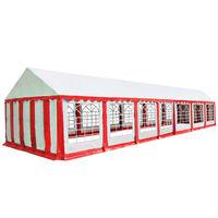 vidaXL Sodo palapinė, raudona ir balta, 6x14m, PVC (310014+310019)