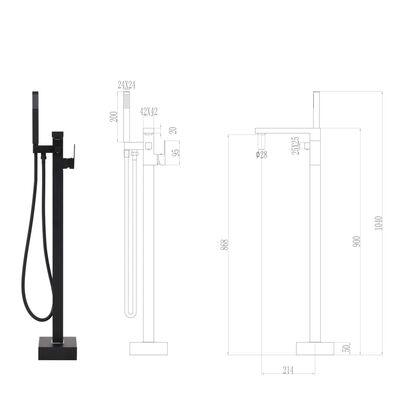 vidaXL Pastatomas vonios maišytuvas, juodas, 90cm, plienas
