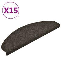 vidaXL Lipnūs laiptų kilimėliai, 15vnt., šviesiai rudi, 65x21x4cm