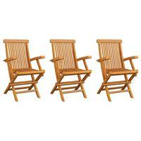 vidaXL Sodo kėdės, 3vnt., tikmedžio medienos masyvas