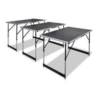 vidaXL Sudedami stalai, 3 vnt., reguliuojamas aukštis, sulankstomi