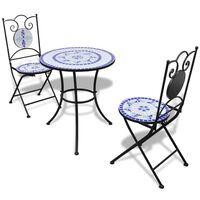 vidaXL Bistro baldų komplektas, 3d., mėlynas ir baltas, keramikinės plytelės