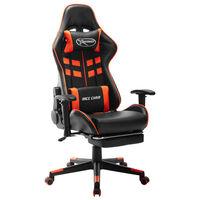 vidaXL Žaidimų kėdė su pakoja, juoda ir oranžinė, dirbtinė oda