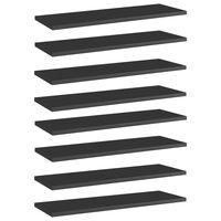 vidaXL Knygų lentynos plokštės, 8vnt., juodos, 60x20x1,5cm, MDP