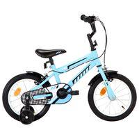 vidaXL Vaikiškas dviratis, juodos ir mėlynos spalvos, 14 colių