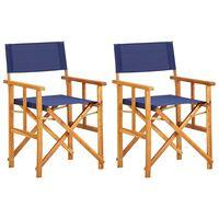 vidaXL Režisieriaus kėdės, 2 vnt., mėlynos, akacijos medienos masyvas