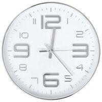vidaXL Sieninis laikrodis, sidabrinės spalvos, 30 cm