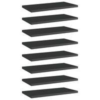 vidaXL Knygų lentynos plokštės, 8vnt., juodos, 40x20x1,5cm, MDP