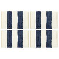vidaXL Stalo kilimėliai, 4vnt., mėlynų + baltų dryžių, 30x45cm, chindi