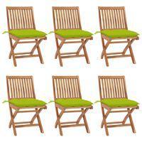 vidaXL Sulankstomos sodo kėdės su pagalvėlėmis, 6vnt., tikmedis