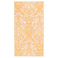 vidaXL Lauko kilimas, oranžinės ir baltos spalvos, 190x290cm, PP