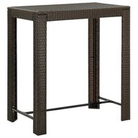 vidaXL Garden Bar Table Brown 100x60,5x110,5 cm Poly Rattan