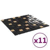 vidaXL Mozaikinės plytelės, 11vnt., juodos/auksinės, 30x30cm, stiklas