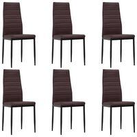 vidaXL Valgomojo kėdės, 6vnt., rudos, dirbtinė oda
