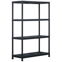 vidaXL Sandėliavimo lentyna, juoda, 90x40x138cm, plastikas, 220kg