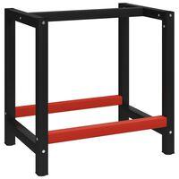 vidaXL Darbastalio rėmas, juodas ir raudonas, 80x57x79cm, metalas