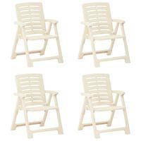 vidaXL Sodo kėdės, 4vnt., baltos spalvos, plastikas