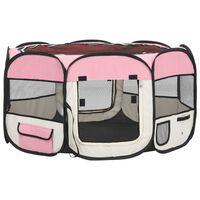 vidaXL Sulankstomas aptvaras šunims su krepšiu, rožinis, 125x125x61cm
