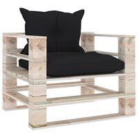 vidaXL Sodo sofa iš palečių su juodomis pagalvėlėmis, pušies mediena