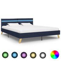 vidaXL Lovos rėmas su LED, mėlynos spalvos, 180x200 cm, audinys