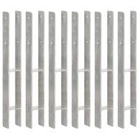 vidaXL Tvoros stulpai, 6vnt., sidabrinės spalvos, 7x6x60cm, plienas