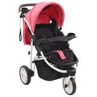 vidaXL Vaikiškas triratis vežimėlis, rožinės ir juodos spalvos