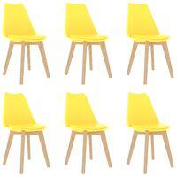 vidaXL Valgomojo kėdės, 6vnt., geltonos, plastikas (289134+289135)