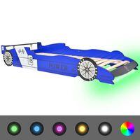 vidaXL Vaikiška LED lova lenktyninė mašina, mėlyna, 90x200 cm