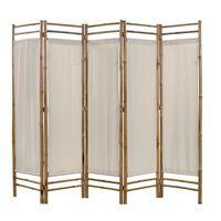 vidaXL Kambario pertvara, 5d., sulankstoma, bambukas ir drobė, 200cm
