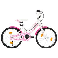 vidaXL Vaikiškas dviratis, rožinės ir baltos spalvos, 18 colių