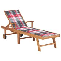 vidaXL Saulės gultas su languotu čiužiniu, tikmedžio medienos masyvas