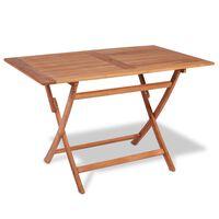 vidaXL Sulankstomas sodo stalas, 120x70x75cm, tikmedžio med. masyvas