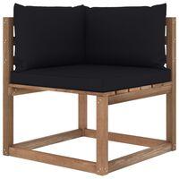vidaXL Kampinė sodo sofa iš palečių su juodomis pagalvėlėmis