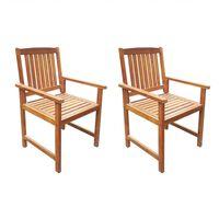 vidaXL Sodo kėdės, 2 vnt., tvirta akacijos mediena, rudos