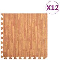 vidaXL Kilimėliai, 12vnt., EVA putos, 4,32m², su medienos raštais