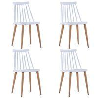 vidaXL Valgomojo kėdės, 4 vnt., baltos spalvos, plastikas (2x247284)