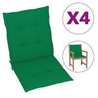 vidaXL Sodo kėdės pagalvėlės, 4vnt., žalios spalvos, 100x50x4 cm