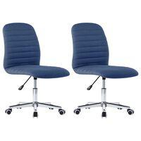vidaXL Valgomojo kėdės, 2vnt., mėlynos spalvos, audinys