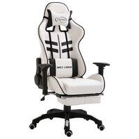 vidaXL Žaidimų kėdė su atrama kojoms, juoda, dirbtinė oda