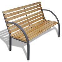 vidaXL Sodo suoliukas, 120 cm, mediena ir geležis