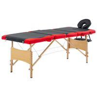 vidaXL Sulankstomas masažinis stalas, juodas/raudonas, mediena, 4 zonų