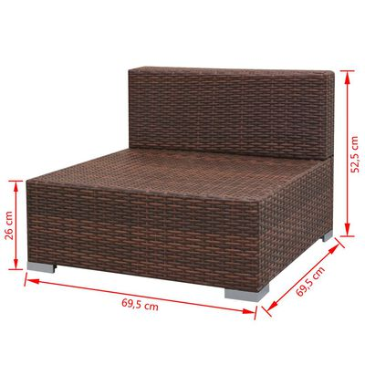 vidaXL Sodo poilsio baldų kompl. su skliautu, 7d., rudas, poliratanas
